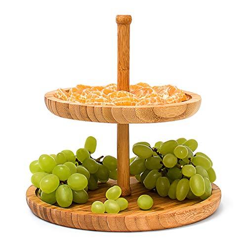 Relaxdays Etagere Bambus H: 25 cm D: 25 cm 2-stöckige Obstetagere aus Holz mit 2 runden Schalen zur Ablage von Gebäck, Kekse, Party-Snacks, Nüsse, Süßigkeiten als Obstteller und Servierplatte, natur
