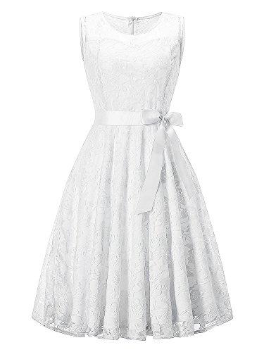 DYLH Damen Spitzen Rockabilly Kleid Festlich Partykleid Cocktailkleid Brautjungfern Kleid Rundhals Ärmellos Weiß XXLarge