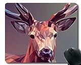 Yanteng Tappetino per Mouse Antiscivolo per Desktop, Cervi poligonali Art-cuciti