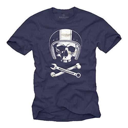 MAKAYA Calavera con Casco - Camiseta Motocross - Hombre Azul S