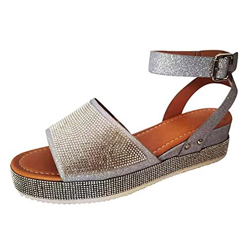 Sandalias Mujer Verano 2021 Sandalias De Punta Abierta Cuñas Planas De Zapatos de Talla Grande para Mujer Cruzadas y Cierre de Hebilla en el Tobillo