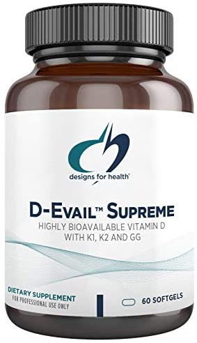 Designs for Health D-Evail Supreme – 5,000 IU Vitamin D Supplement with Vitamin K (K1, K2 as MK-4) + GG – Bone, Immune + Cardiovascular Support – Improved Bioavailability (60 Softgels)
