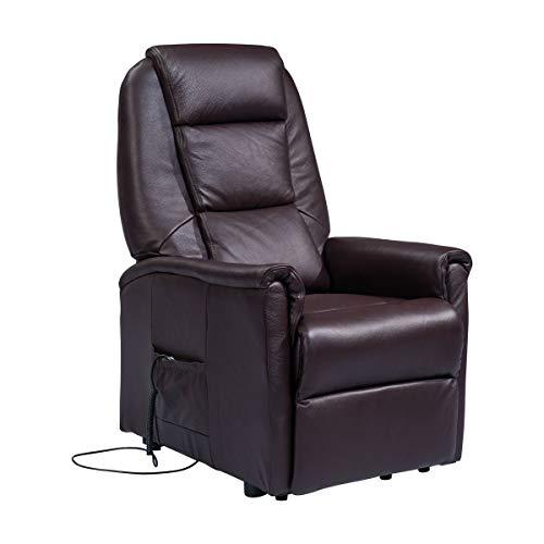 Meinrelaxsessel - elektrischer Fernsehsessel aus Leder mit unabhängiger Sitzneigung Sessel-Rebecca-2M-PEBLA Schwarz Leder CE Medical