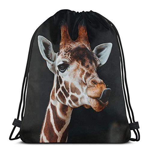 Animal Giraffe Drawstring Backpack Lightweight Sports Gym Bag Large Size Waterproof String Sackpack For Yoga Travel Shopping Men Women
