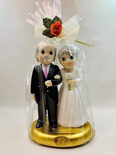 Figura tarta bodas de oro 50 aniversario GRABADA muñecos PERSONALIZADOS pastel o regalo
