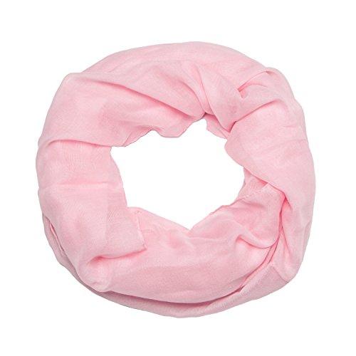 MANUMAR Loop-Schal für Damen einfarbig | feines Hals-Tuch in hell-pink als perfektes Herbst Winter Accessoire | Schlauch-Schal | Damen-Schal | Rund-Schal | Geschenkidee für Frauen und Mädchen