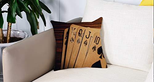 Square Soft and Cozy Pillow Covers,Decoraciones de torneos de póker, cartas viejas dañadas en una mesa de madera de cerca Imagen d,Funda para Decorar Sofá Dormitorio Decoración Funda de almohada.