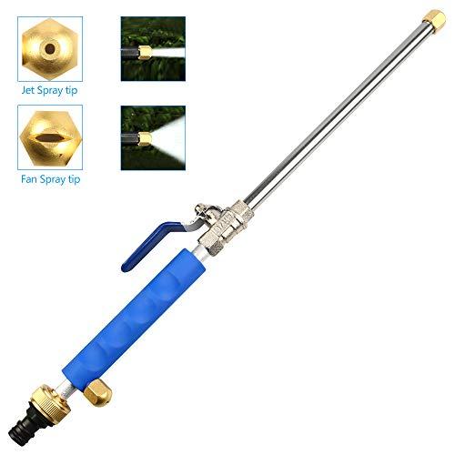 Sportuli - Bacchetta per idropulitrice a getto profondo, estensibile, ad alta pressione, con ugello per tubo dell'acqua per la pulizia dei vetri, cannone in schiuma, 2 punte