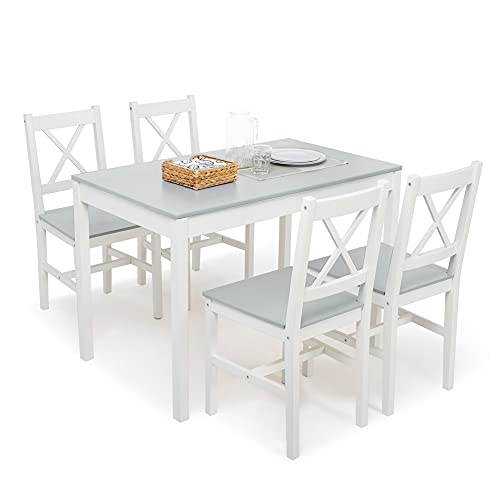 Meerveil Esstisch mit 4 Stühlen, Essgruppe Esszimmergarnitur Massiv Holztisch Klassischer Stil für Esszimmer küche, 108 x 65 x 73 cm (Grau)