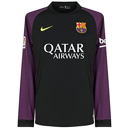 Nike FCB YTH LS GK Stadium JSY - Langärmeln T-Shirt FC Barcelona Schwarz - XL - Unisex