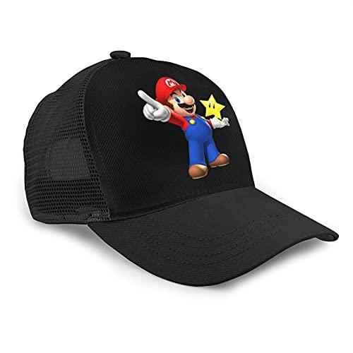 KAODAN Super Mario Bros Games Gorras de béisbolSombrero Snap Back Cap Gorra de Camionero Gorras de béisbol de Malla Deportes Sombrero de papá Gorra de Golf de Pesca