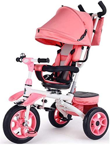 HUJPI Kinderwagen Dreirad mit Baldachin, Dreirad Klappbar mit Griff Pushing Kinder Tricycle mit verstellbarem Sitz Baby-Trike mit Aufbewahrungsbox,Pink