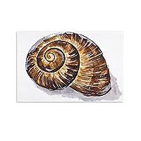 茶色のカタツムリの殻楽しいシンプルなポスター装飾画キャンバスウォールアートリビングルームポスター寝室寮プリント絵画20×30インチ(50×75cm)
