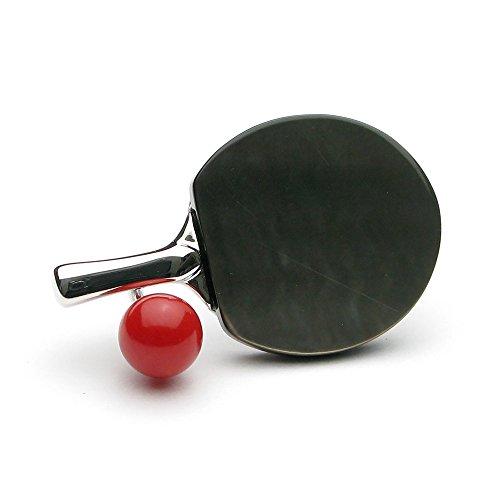 赤珊瑚 4ミリ玉 卓球ラケット SV ブローチ【アートコーラル】