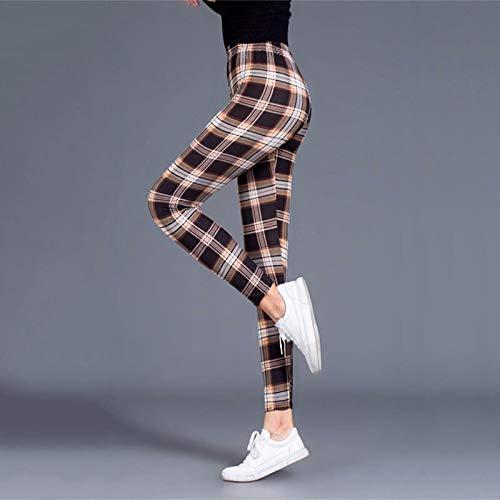AOZLOVEC Leggings de mujer con estampado de ejercicio, mallas de fitness elásticas a cuadros, Legging Push Up, pantalones femeninos de talla grande, talla única, KhakiWhiteGrid
