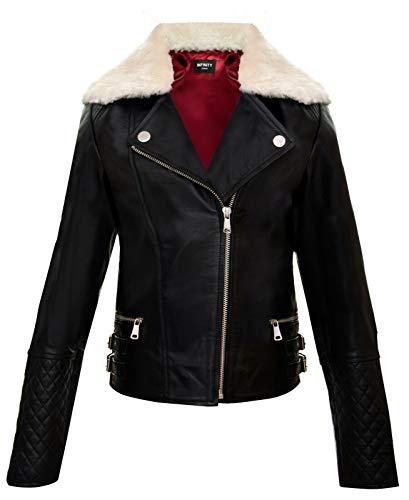 Infinity Leather Chaquetas para Niñas 100% Cuero Genuino Negro y Beige con Cuello de Piel de Oveja Desmontable Chaquetas a la Moda Estilo Motociclista (3-4 Años)