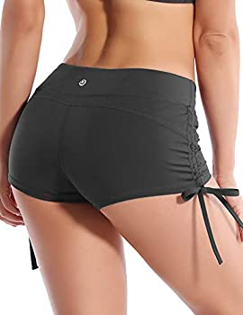 BUBBLELIME Stretch Sexy Booty Yoga Shorts for Women Adjustable Side Ties_SHADOWCHARCOAL XS_BWHB006