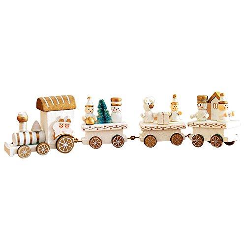 Holacha Pequeño Tren de Navidad, Decoraciones de Navidad Hecho de Maderas para Niños Jardín de Infancia Festivo (Blanco)