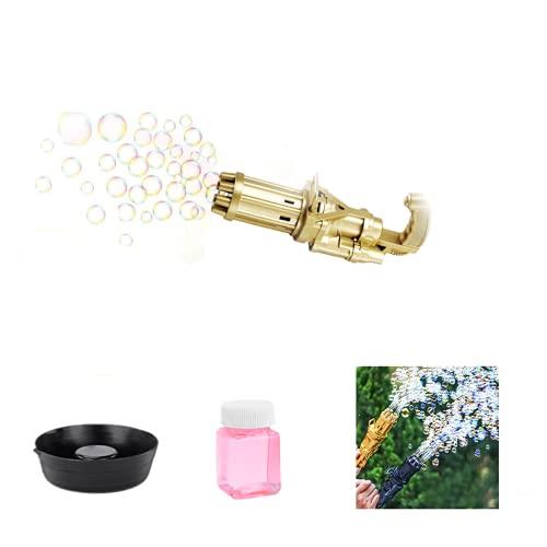 MáQuina De Burbujas Gatling, Fabricante AutomáTico De Burbujas De Ocho Agujeros, Pistola De Burbujas Para NiñOs, Juguetes Al Aire Libre Para NiñOs Y NiñAs (dorado)