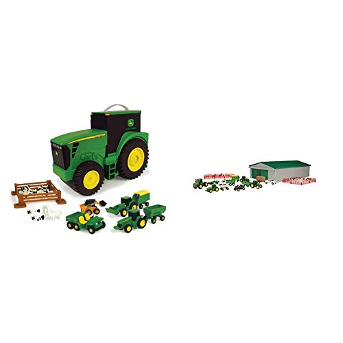 TOMY John Deere Durable Vehicle Toy Set for Kids with Tractor Shaped Portable Carry Case & John Deere Die-cast Farm Toy 70 Piece Value Playset