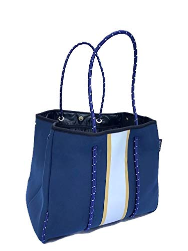 Neoprene Navy Large Beach Pool Bag Tote Womens XLarge Totes Bags Travel Gym Studio Office School Women Teen Girls Family Teacher Catchall by Dallas Hill