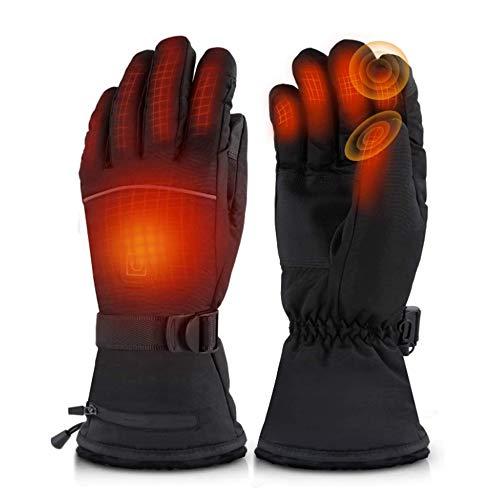 Guantes calefactables para moto, impermeables, para pesca, esquí, ciclismo, caza en invierno, guantes térmicos para hombre y mujer con 3 temperaturas ajustables Negro M