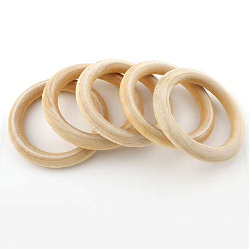 Perlin H167 Wooden Ring Diameter 68 mm Jewellery Pack of 5 Unfinished Smooth Wooden Hoop Baby Children Toy Curtain Rings for Curtains, Curtain Rings, Wooden Rings