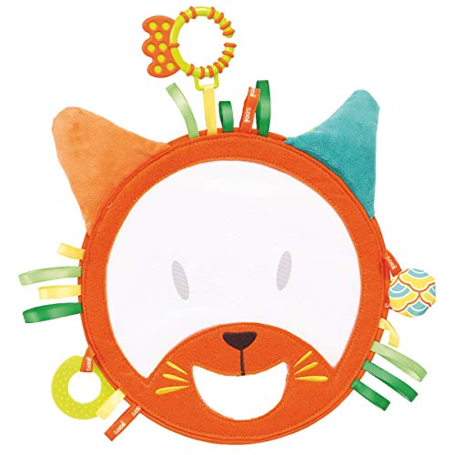 LUDI - Tête de chat, hochet géant et léger pour jouer à Coucou-Caché. Dès 12 mois. Tissu coloré avec 6 activités sensorielles qui attirent la curiosité. Diamètre : 19 cm - réf. 2852