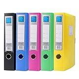 NUOBESTY - 5 cajas de archivadores de colores, de plástico, para oficina, para el hogar, 32 x 23, 6 x 5, 5 cm