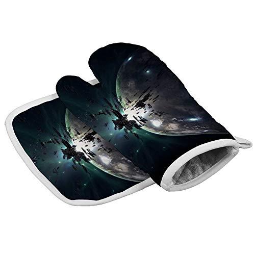 MayBlosom Manoplas de horno Early Universe Juego de guantes de cocina y soportes para ollas resistentes al calor para horno de microondas y horno para barbacoa de cocción a la parrilla