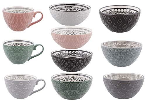 Riyashop 6er Set Suppentasse Geschirrserie Infinity Kombiservice Keramik Porzellan Suppentasse Neu