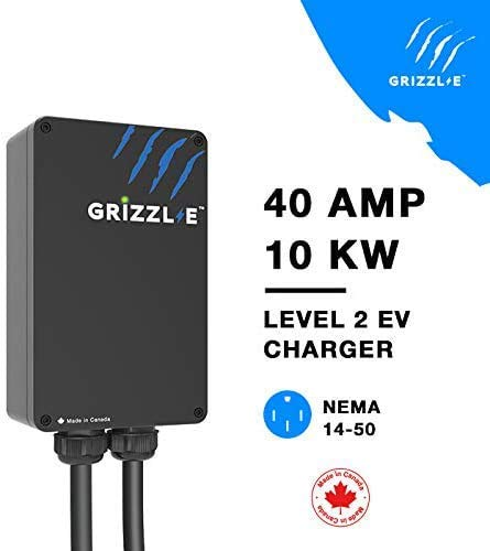 Grizzl-E Level 2 EV Charger, 16/24/32/40 Amp, NEMA 6-50/14-50 Plug, 18 feet/24 feet Premium/Regular Cable, Indoor/Outdoor Car Charging Station(14-50 Plug, 24 Feet Regular Cable)