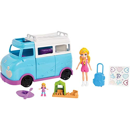 Polly Pocket Glamping Van with Dual Camping for 3-inch Polly Doll & Micro Polly Doll; Van Opens to Living Area & Trunk Opens to Micro Living Area Plus Accessories [Amazon Exclusive]