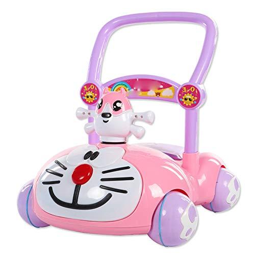 LGLE Girello per Bambini Carrello Bimbo Trolley Giocattolo Anti Ribaltamento Baby Assistito A velocità Regolabile Multifunzione con Musica 7-18 Mesi,Pink