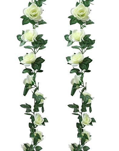 Homcomodar 2 Stücke Künstliche Rosen Reben Hängen Rose Ivy Blumen Girlande mit künstlichen Ranken für Haus, Hotel, Hochzeit, Garten Dekoration(Weiß)