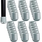 36 Pieces 7/8 Inch Folding Chair Leg Caps Heavy-Duty Plastic Chair End Caps Non-Marring Furniture Glides Round Hardwood Floor Protectors (Grey)