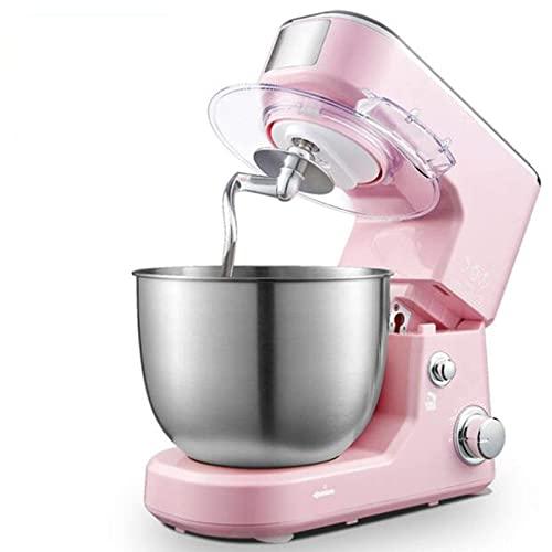 MOSHUO Amasadora, batidora, batidora Vertical eléctrica, máquina de Chef de Acero Inoxidable batidora de Crema de 5 l, batidora de Huevos para amasar Pasteles, Pan, Rojo (Rosa)