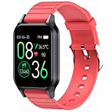 Smart Watch with Body Temperature, Thermometer Fitness Tracker, Activity Tracker with Heart Rate & Blood Pressure & Sleep Monitor, etc, for Android and iOS Phone, for Men & Women's Gift (Red)