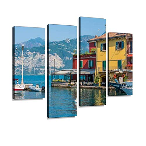 YKing1 malcesine Beautiful Little Town on Lake Garda Veneto Province of Wall Art Painting Pictures Print On Canvas Stretched & Framed Artworks Modern Hanging Posters Home Decor 4PANEL
