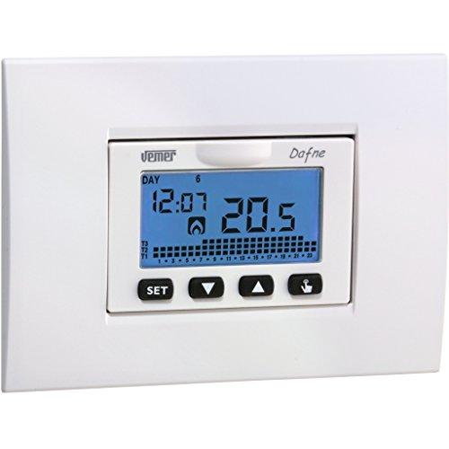 Vemer VN166500 Dafne Cronotermostato da incasso con programmazione settimanale e alimentazione a batterie, Bianco Antracite