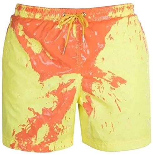 PANOZON Bañadores Hombre Pantalones Cortos Playa Shorts Cambiar de Color en Agua para Verano Vacaciones (2X-Large, Amarillo)