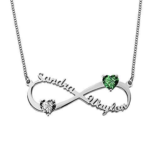 Infinity Namenskette 925 Sterling Silber mit Zwei Wunschname und Geburtsstein, Individuelle Unendlichkeit Halskette Silber/Rosegold/Gold mit Name (Silber,55cm)