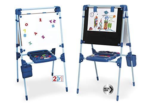 Chicos - Pizarra Infantil 2 en 1: Magnética y de Tiza, Incluye un Rotulador, Tizas de Colores e Imanes de Letras y Números, a partir de 3 Años, Color Azul, Medida: 62.5 x 60 x 120 cm