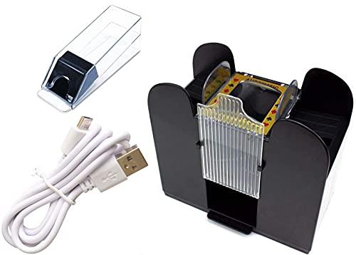 HJGK Máquina Barajadora Automática, Máquina Barajadora Multifunción De 6 Capas Alimentada por Batería USB, Accesorios para Herramientas De Casino Máquina Barajadora De Cartas Familiares
