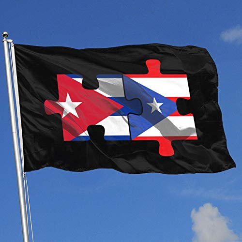 Xhayo Banderas Cuba Puerto Rico Flags Puzzle Banner Flag Family Flag Outdoor Garden Flag 3'X5' House Banner