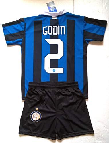 Completo Godin Inter Prodotto Ufficiale F.C Internazionale 2021/2020 Bambino Uomo Adulto Maglia + Pantaloncini Pantaloncino Completino Home 2 Diego Godin (12 Anni)