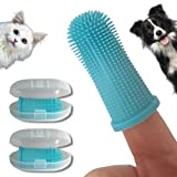 PawsOnlyUK Dog Finger Toothbrush   Set of 2   Toothbrush & Storage Case   Nontoxic Silicone   Teeth Cleaning Breath Dental Care Plaque Off   Dog Cat Puppy Toothbrush (Blue)