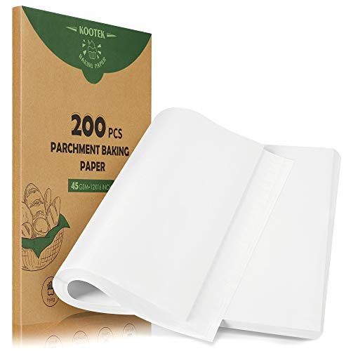 Kootek 200 Pcs Parchment Paper Baking Sheets, 12 x 16 Inch Heavy-duty Baking Paper Pre-cut Unbleached Bakery Paper for Cooking, Baking, Steaming, Air Fryer, Grilling, Roasting, Cookies (White)
