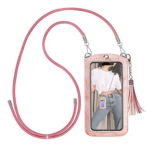 Takyu - Bolso para teléfono móvil con correa de nailon y tarjetero de 3 ranuras, tamaño L, color rosa