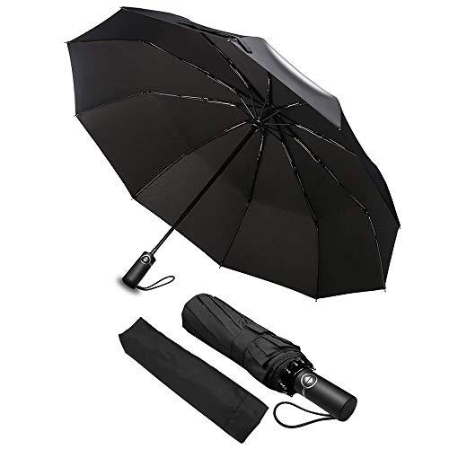 Regenschirm, phixilin Taschenschirm Automatik 10 Edelstahl-Rippen 210T Wasserabweisend Regenschirm Schirm Taschenschirm Auf-Zu-Automatik, Klein, Leicht & Kompakt, Windsicher, Stabil (Schwarz)